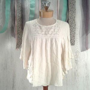 xhilaration boho off-white flowy angel arm blouse